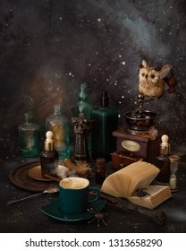 Magic coffee for Malfoy and Harry Potter on the table.