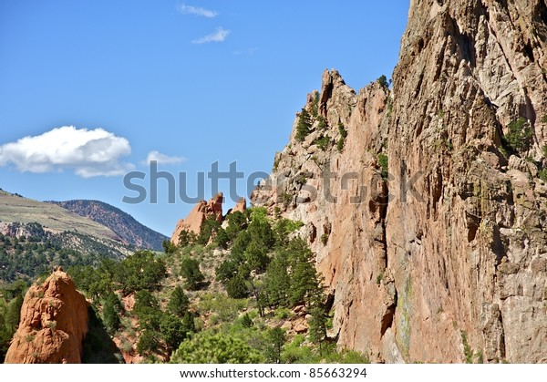 Magic Colorado. Beautiful Rock Formation in the Garden of the Gods. Central Colorado ( Colorado Springs Area ). Horizontal Photography of the Garden - Summer.