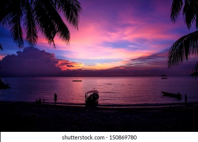Magic colorful sunset at Perhentian Island, Malaysia