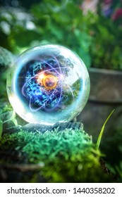 Magic crystal ball atom in nature for summer fantasy imagery