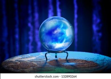 Magic crystal ball on a table