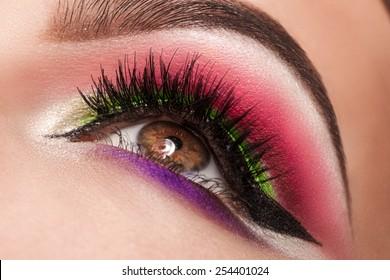 magic eyes look beautiful with bright makeup, macro