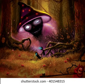 Magic forest, mushrooms and fantastic characters, color illustration