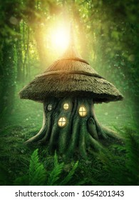Magic forest with a stump house