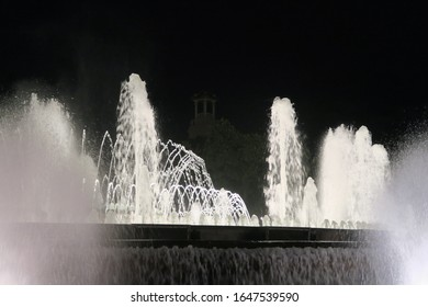 The Magic Fountain of Montjuïc, lit up water fountain show in Barcelona, Spain