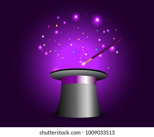Magic hat with wand on violet mysterious background with sparkling lights. Vector magician perfomance. Wizzard illusionist show. illustration.