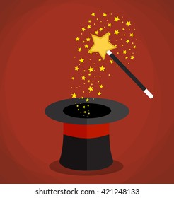 Magic hat and wand with sparkles and stars. illustration in flat design on red background Raster version
