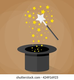 Magic hat and wand with sparkles and stars. illustration in flat design on brown background