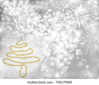 Magic holiday abstract glitter background with blinking stars, falling snowflakes and Christmas tree.