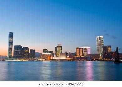 Magic hour of Kowloon Peninsula in Hong Kong