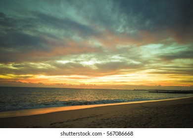 Magic hour of natural colorful dawn over the sea outdoor sunny background