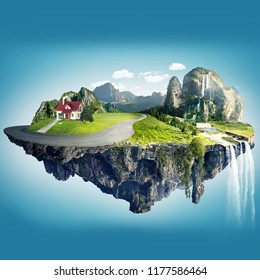 Magic island with floating islands & Red family House , water fall and field