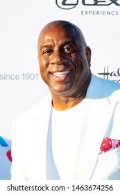 Magic Johnson attends HollyRod Foundation's 21st Annual DesignCare Gala at Saddlerock Ranch, Malibu, CA on July 27 2019