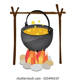Magic kettle with yellow poison, spoon hanging over fire raster illustration. Cauldron. Pot raster