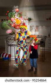 Magic in the kitchen. Funny clown and little girl make magic trick.