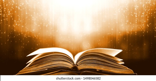 The magic of knowledge, the opening of the old big book in the library, with the magical light shining from above, is a great power of knowledge.