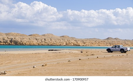 Magic lake in red sea in Egypt