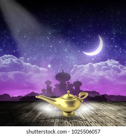 Magic lamp with smoke on stage with background