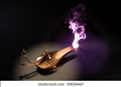 magic lamp upside view in dark place