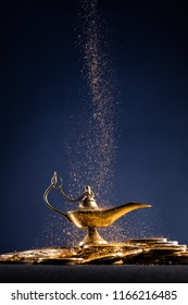 Magic lamp of wishes with smoke coming out from the lamp