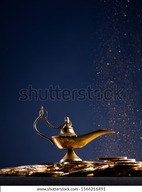Magic Lamp Wishes Smoke Coming Out Stock Photo (Edit Now) 1166216491