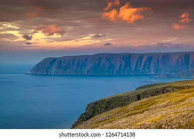 Magic light during the midnight sun of the North Cape(Nordkapp), Finnmark, Norway.