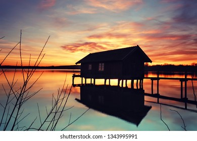 magic light at the wooden boat house