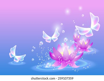 Magic lilies with bubbles and fairytale butterfly