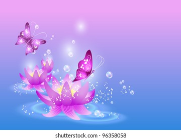 Magic lilies and butterfly. Raster version of vector.