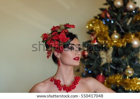 Magic Make Model Woman Christmas Tree Stock Photo Edit Now