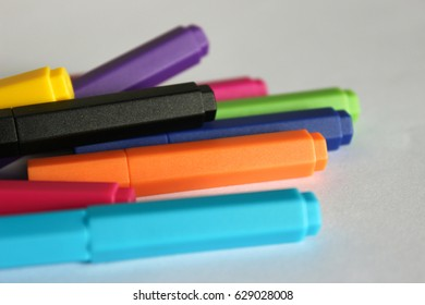Magic marker. Closeup. Colorful pen. Stationary.