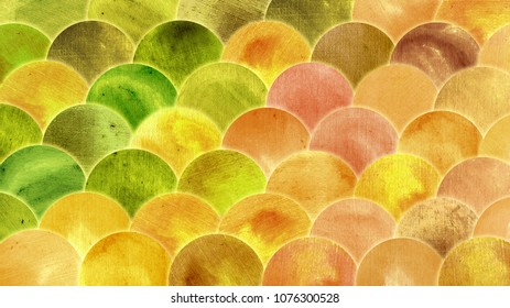 Magic Mermaid Golden Green Orange Color Scales Watercolor Fish Squame Background. Bright Autumn backdrop brassy pattern with reptilian scales abstract.