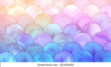 Magic Mermaid Scales Watercolor Fish squame background. Bright summer pink and blue sea pattern with reptilian scales abstract.