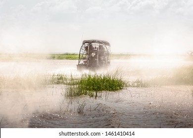Magic misty morning. Everglades airboat ride in South Florida, National Park