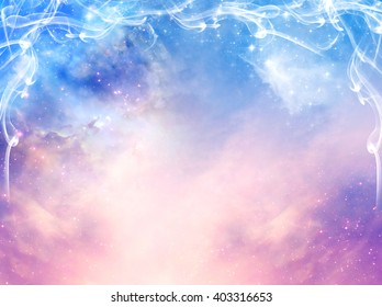 magic mystical background with stars, galaxy and light beams in blue and pink tonality