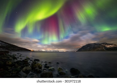 Magic Night. Spectacular show of the Northern Lights (Aurora) over Nupen, outside of Harstad in Northern Norway.