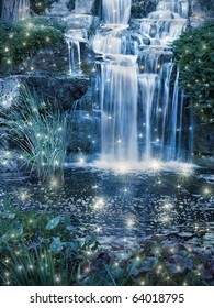 Magic night waterfall scene