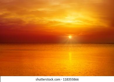 Magic orange sunset over sea