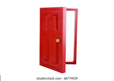 a magic red door isolated on white with room for your text