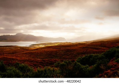 magic scotland sunset over some hills and ocean
