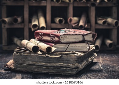 Magic scrolls and books in medieval library