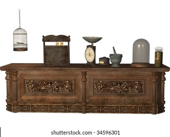 Magic shoppe counter with a cash register, scale and birdcage