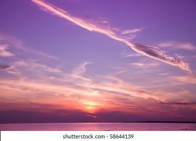 Magic Spear Flung Through Sunset Skies