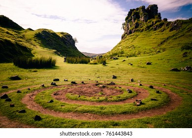 The magic spiral at the center of the Mystic Fairy Glen in the Isle of Skye, Scotland
