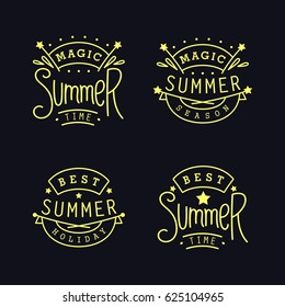 Magic Summer season. Best holiday. Set of Labels. Four thin line emblem with funny slogans. design elements