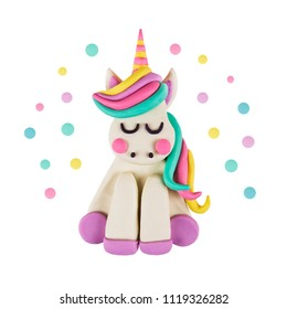 A magic unicorn made of clay. isolated on white