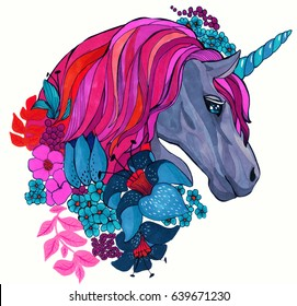 Magic unicorn portrait with flowers hand drawing watercolor  illustration. Bright design