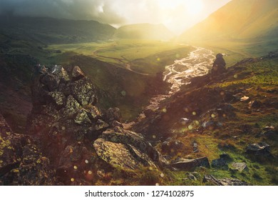 Magic View of the picturesque colorful valley in the mountains of Elbrus in summer in outdoor, during sunset