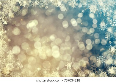 Magic vintage holiday glitter background with blinking stars and ice. Blurred bokeh of Christmas lights.