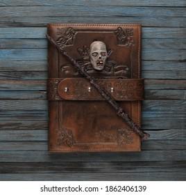 magic wand, book of magic, Warlock, old blue wooden table